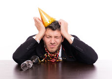 Hangover man after party Royalty Free Stock Images