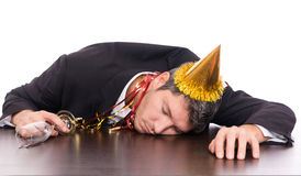 Hangover man after party stock image