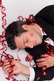 Hangover man after party stock photo