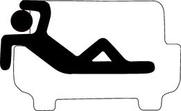 Hangover Sign. Icon that represents an individual lies on a sofa emulating a person with hangover Royalty Free Stock Image