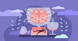 Hangover vector illustration. Tiny alcohol overdose drinking person concept. Hangover vector illustration. Flat tiny alcohol overdose drinking persons concept vector illustration