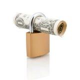 Hangslot en één dollarrekening Stock Fotografie