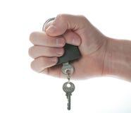 Hangslot en sleutel op mensenhand Stock Fotografie