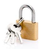Hangslot en sleutels Stock Afbeelding