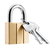 Hangslot en sleutels Royalty-vrije Stock Foto