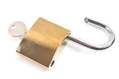 Hangslot met sleutel Stock Foto's