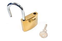 Hangslot met sleutel Royalty-vrije Stock Foto's
