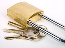 Hangslot met sleutels royalty-vrije stock foto