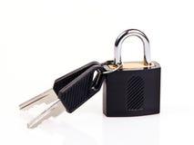 Hangslot met sleutels Stock Afbeelding