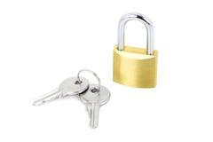 Hangslot met sleutels Royalty-vrije Stock Afbeeldingen