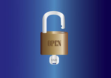 Hangslot met sleutels wordt geplaatst die Royalty-vrije Stock Afbeelding