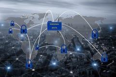 Hangslot over de EU-kaart, die de Algemene Gegevensbescherming van de EU symboliseren Stock Afbeelding