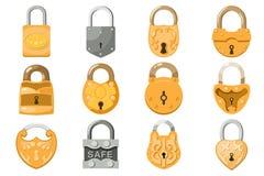 Hangslot vectorslot voor veiligheid bescherming met gesloten veilig mechanisme om met elkaar te verbinden of uitsluitingssluiten royalty-vrije illustratie