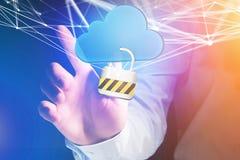 Hangslotveiligheid met een wolk wordt op futuristisch wordt getoond verbonden die Royalty-vrije Stock Foto's