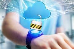 Hangslotveiligheid met een wolk wordt op futuristisch wordt getoond verbonden die Royalty-vrije Stock Afbeeldingen
