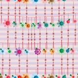Hangt de bloem Chinese knoop lijn naadloos patroon Royalty-vrije Stock Afbeelding