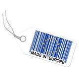 Hangtag mit GEMACHT IN EUROPA stockfotografie