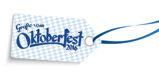 Hangtag with text greetings from Oktoberfest 2016 Royalty Free Stock Photos