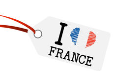 Hangtag with text I LOVE FRANCE Stock Photo