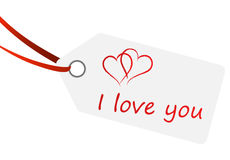Hangtag with text - i love you Royalty Free Stock Photo
