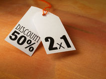 Hangtags of discount  Stock Photos