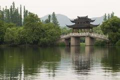 Hangzhou. Famous Su Di Bridge on West Lake, Hangzhou, China royalty free stock image