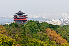 Hangzhou Chenghuang pavilion scenery Stock Photography