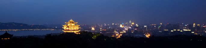 Hangzhou Chenghuang pavilion scenery. Night view  of Hangzhou Chenghuang pavilion scenery Stock Images