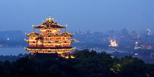 Hangzhou Chenghuang pavilion scenery. Night view  of Hangzhou Chenghuang pavilion scenery Royalty Free Stock Photos
