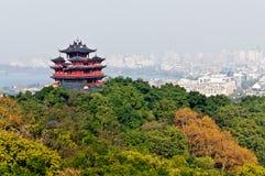Hangzhou Chenghuang paviljonglandskap Arkivbild