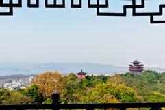 Hangzhou Chenghuang paviljonglandskap Arkivbilder
