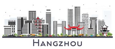 Hangzhou China City Skyline with Gray Buildings Isolated on Whit. E. Vector Illustration. Business Travel and Tourism Concept with Modern Architecture. Hangzhou vector illustration