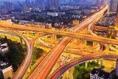 Hangzhou colorful city bridge at night Stock Images