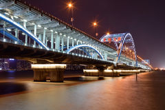 For Hangzhou Fuxing Bridge Night Royalty Free Stock Images