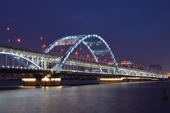 For Hangzhou Fuxing Bridge Night Stock Images