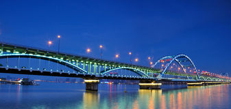 Hangzhou Fuxing Bridge Night Stock Images