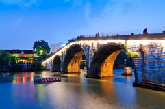 Hangzhou gongchen bridge at dusk Stock Photography