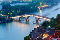 Hangzhou gongchen bridge at dusk Royalty Free Stock Photography
