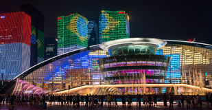 HANGZHOU ILLUMINATION AND FOUNTAIN NIGHT LED Stock Image