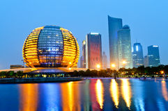 Hangzhou international conference center at night Royalty Free Stock Image