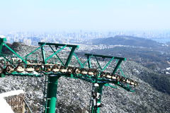 Hangzhou North Peak cable car after the snow Stock Images