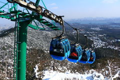 Hangzhou North Peak cable car after the snow Stock Photos