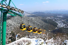 Hangzhou North Peak cable car after the snow Royalty Free Stock Images