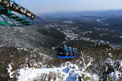 Hangzhou North Peak cable car after the snow Stock Photo
