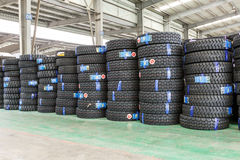 Hangzhou,   North train station freight warehouse goods piled up many car tires,in China Royalty Free Stock Image