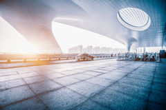 Hangzhou rail station in china. Light traces on traffic at Hangzhou rail station Royalty Free Stock Photography
