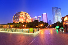 Hangzhou's central business district  at  night Stock Photos