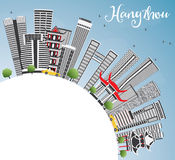 Hangzhou Skyline with Gray Buildings, Blue Sky and Copy Space. Vector Illustration. Business Travel and Tourism Concept with Modern Architecture. Image for stock illustration
