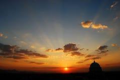 hangzhou solnedgång Arkivfoto