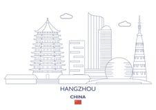 Hangzhou stadshorisont, Kina Arkivbild